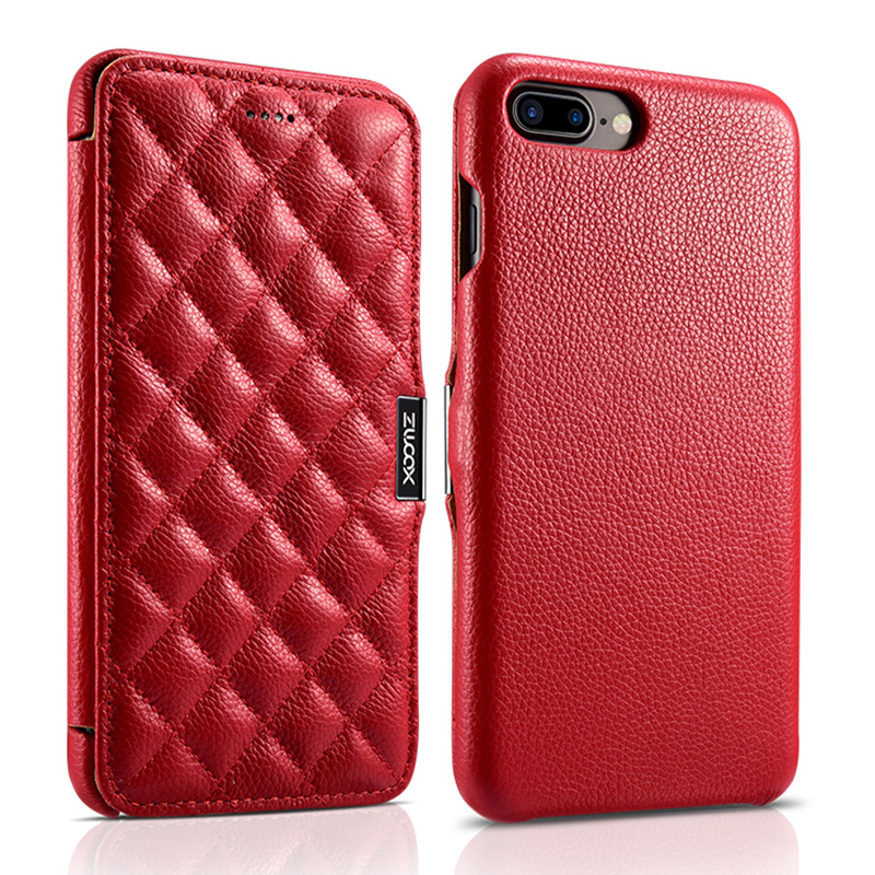 iPhone 7 Plus/8 Plus Litchi Real Leather Check Series Side